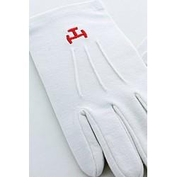 White Cotton gloves with Triple Tau