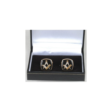 Square Black Cufflinks with Square & Compasses