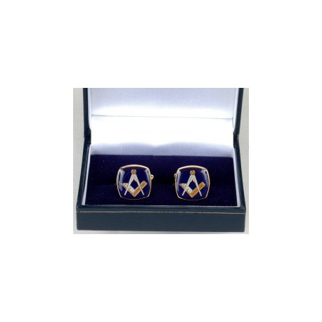 Cufflinks -Blue Square with Square & Compasses
