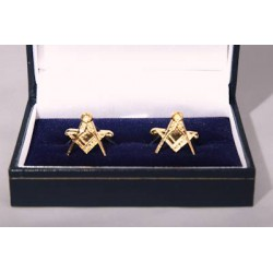Square & Compass Gilt Cufflinks.