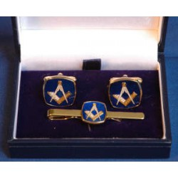 Blue Square Cufflinks and Tie clip set