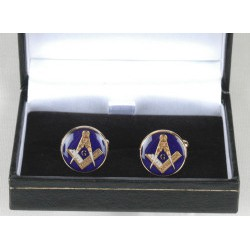 Blue round Cuff links with G