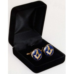 Cufflinks-Blue Round with Square & Compasses