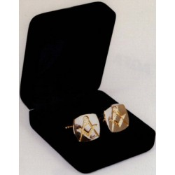 Metal Style Gilt Cufflinks-Square with Square & Compasses