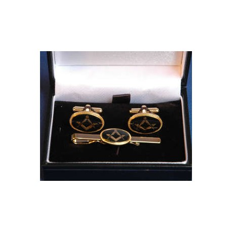 Oval cufflinks and tie clip set