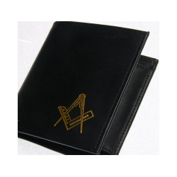 Black Leather wallet with Gilt Sq/c
