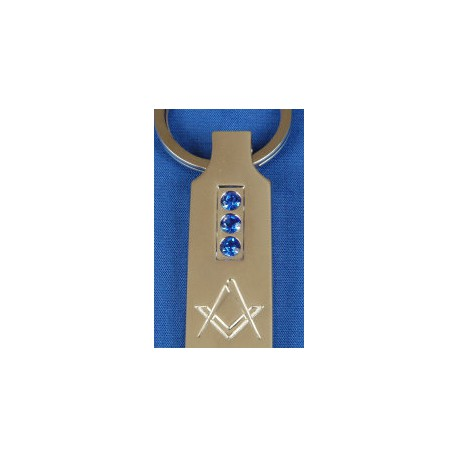 Square and Compasses Blue Crystal Key Ring