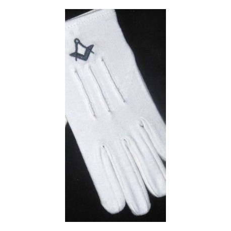 Ladies white gloves with Navy Sq/C