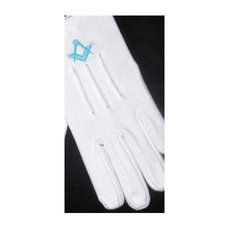 Ladies White Gloves with L/B Sq/C
