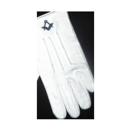 White Gloves with Dark Blue Sq/c