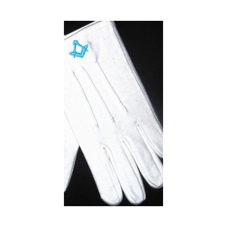 White Masonic Cotton Gloves with Light blue Sq/C