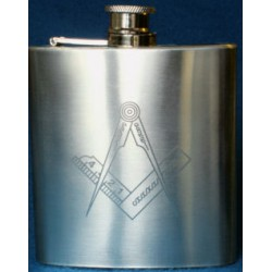Square & Compasses Hip Flask