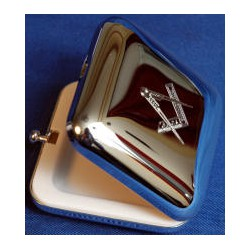 Square silver plated pill box