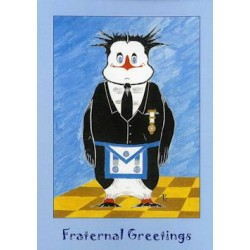 M.M. Fraternal Greetings Penguin Card
