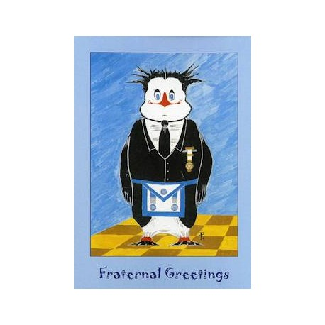M.M. Fraternal Greetings Penguin Card